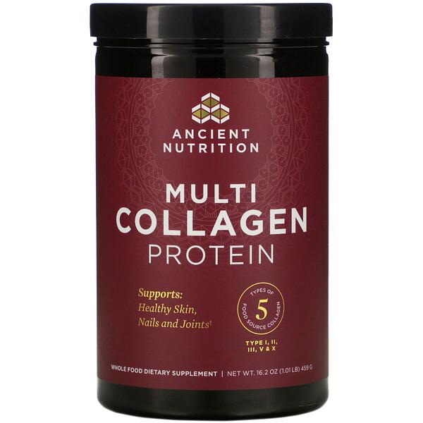 Dr. Axe / Ancient Nutrition, протеин с коллагеном нескольких типов, 459г (1,01фунта)