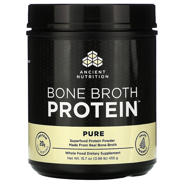 Dr. Axe / Ancient Nutrition, Bone Broth Protein, Pure, 0.98 lb (455 g)