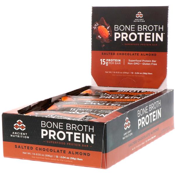 Протеиновый батончик на костном бульоне, Соленый шоколад и миндаль, 12 баточников, 2,04 унц. (58 г) каждый