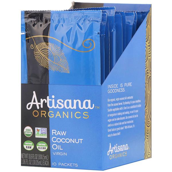 Artisana, Органическое сырое кокосовое масло, 10 пакетиков, 1,06 жидкой унции (30,05 мл) каждый (Discontinued Item)