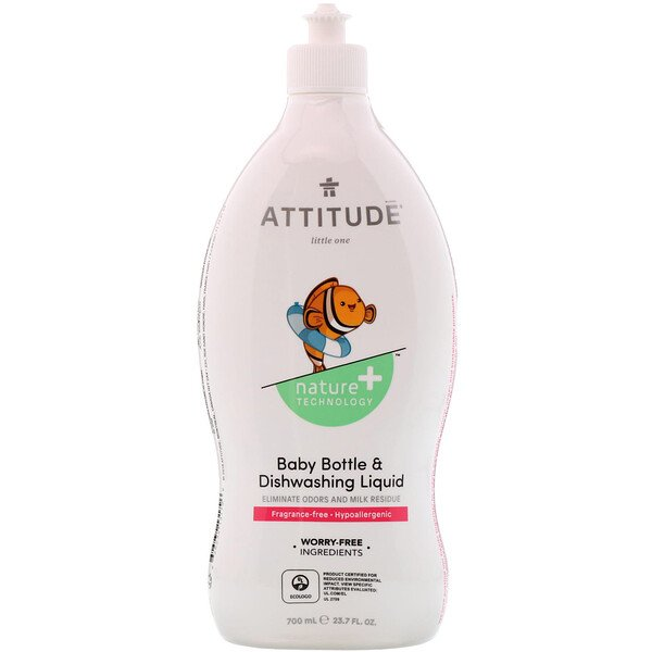 ATTITUDE, Eco-Baby, Жидкость для мытья посуды, 23,7 жидких унций (700 мл) (Discontinued Item)