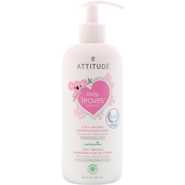 ATTITUDE, Baby Leaves Science, 2-In-1 Natural Shampoo & Body Wash, Fragance-Free, 16 fl oz (473 ml) (Discontinued Item)