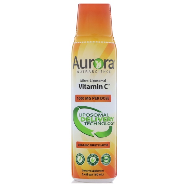 Aurora Nutrascience, Micro-Liposomal Vitamin C, органический фруктовый вкус, 1000мг, 160мл (5,4жидкойунции) (Discontinued Item)