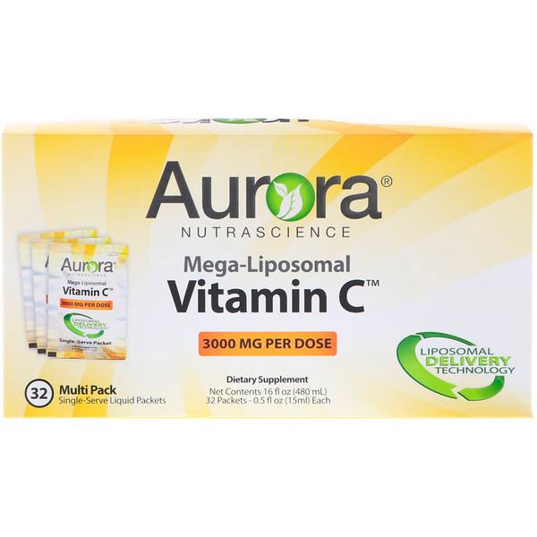 Мега-липосомальный витамин С, 3000 мг, 32 порционных упаковок, 15 мл (0,5 жидких унции) каждая