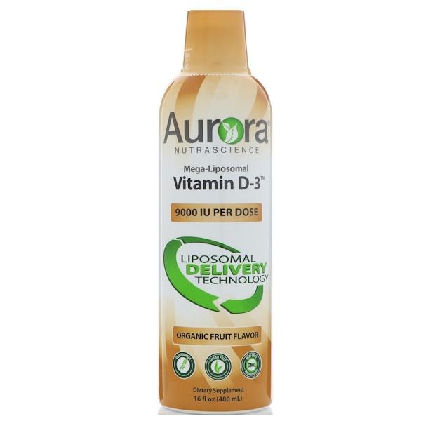 Aurora Nutrascience, Mega-Liposomal Vitamin D3, Organic Fruit Flavor, 9,000 IU, 16 fl oz (480 ml) (Discontinued Item)