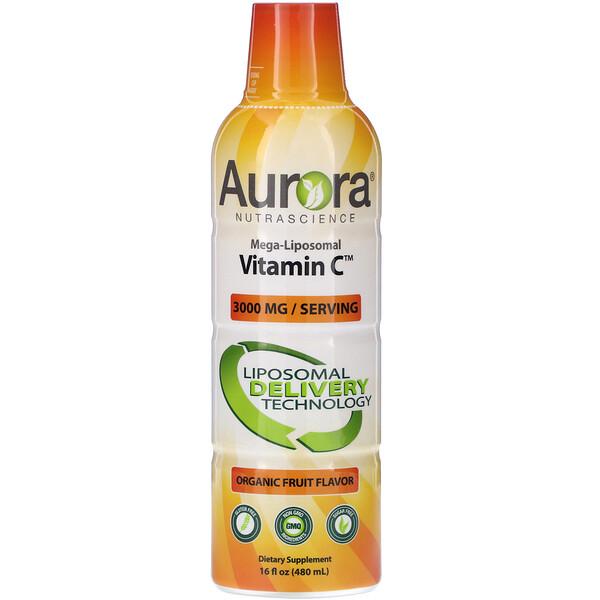 Mega-Liposomal Vitamin C, Organic Fruit Flavor, 3,000 mg, 16 fl oz (480 ml)