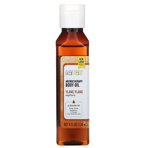 Масло для тела с эффектом ароматерапии, иланг-иланг, 4 жидкие унции (118 мл)