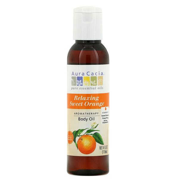 Aura Cacia, Ароматерапия масло для тела, расслабляющий сладкий апельсин, 4 жидких унций (118 мл)