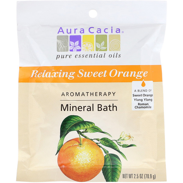 Aura Cacia, Ароматерапевтическое минеральное средство для ванны, расслабляющий сладкий апельсин, 2,5 унции (70,9 г)