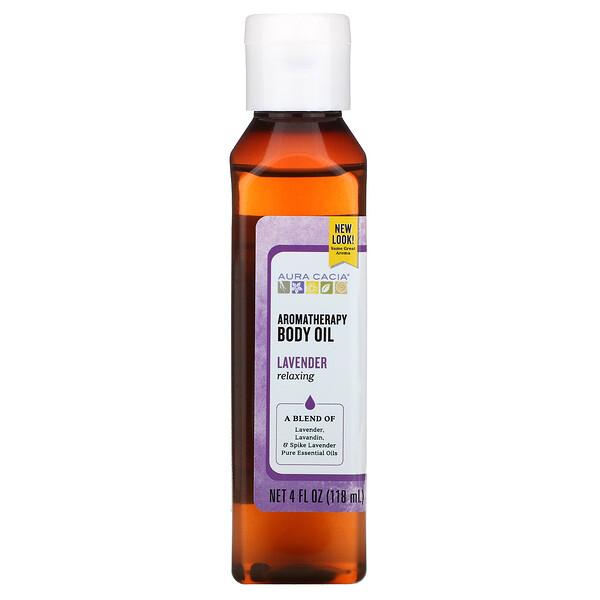 Масло для тела с эффектом ароматерапии, успокаивающая лаванда, 4 жидкие унции (118 мл)
