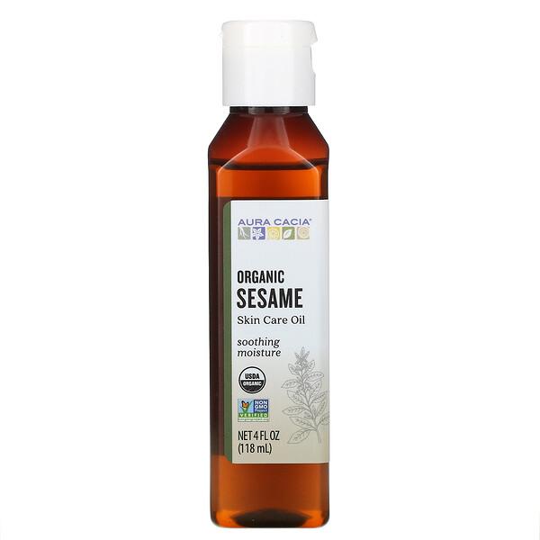 Органическое кунжутное масло для ухода за кожей, 4 жидкие унции (118  мл)