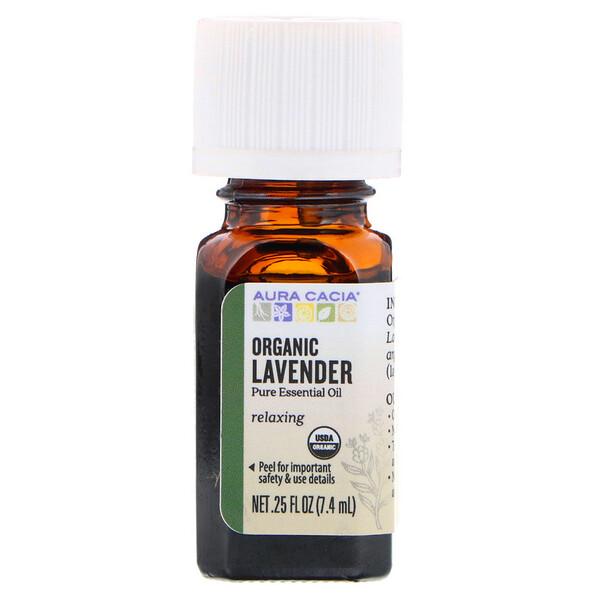 Pure Essential Oil, Organic Lavender, .25 fl oz (7.4 ml)