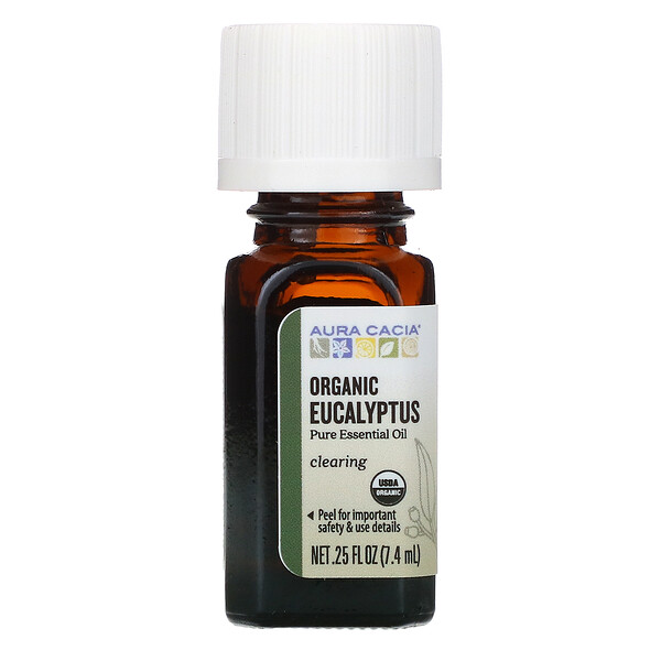 чистое эфирное масло, органический эвкалипт, 7,4мл (0,25жидк.унции)