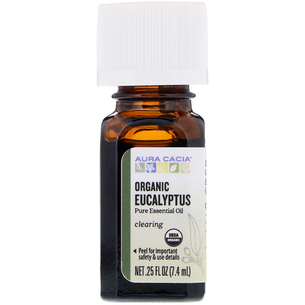 Pure Essential Oil, Organic Eucalyptus, 0.25 fl oz (7.4 ml)