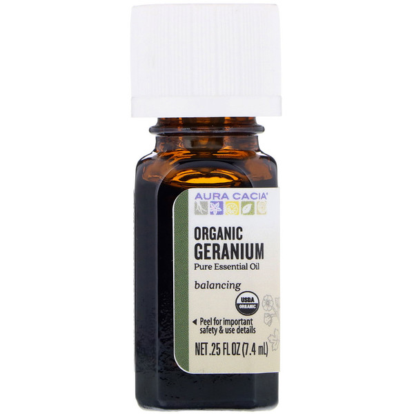 Organic, герань, 0,25 жидкой унции (7,4 мл)