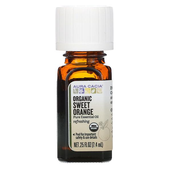 Aura Cacia, чистое эфирное масло, органический сладкий апельсин 7,4мл (0,25жидкой унции)
