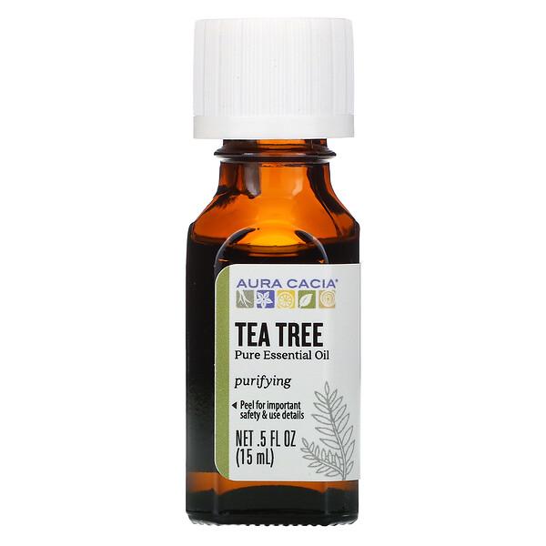 Aura Cacia, чистое эфирное масло, чайное дерево, 15мл (5жидк.унций)
