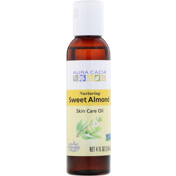 Натуральное масло для ухода за кожей с витамином Е, Питательное масло сладкого миндаля, 4 жидких унции (118 мл)
