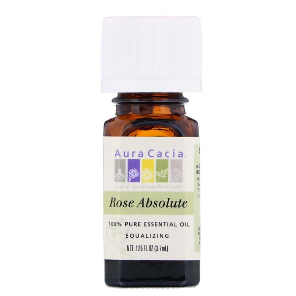 Aura Cacia, 100 % чистое эфирное масло, розовый абсолют, 3,7 мл (0,125 жидкой унции)