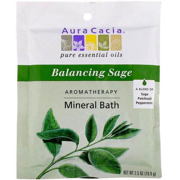 Aura Cacia, Ароматерапевтическое минеральное средство для ванны, гармонизирующий шалфей, 2,5 унции (70,9 г) (Discontinued Item)