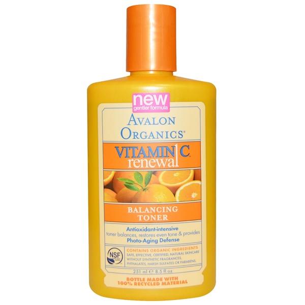 Avalon Organics, Обновление с витамином C, тоник, восстанавливающий баланс, 8,5 жидкой унции (251 мл) (Discontinued Item)