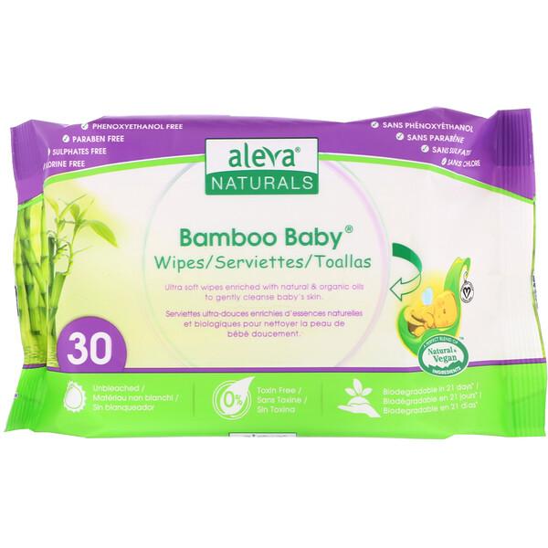 Aleva Naturals, Bamboo Baby Wipes, 30 Wipes