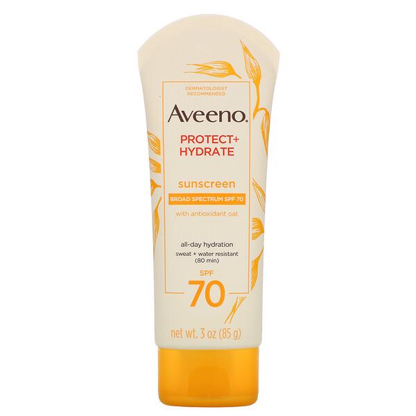 Aveeno, ActiveNaturals, Protect+Hydrate, солнцезащитный лосьон, SPF70, 85г (3унции)