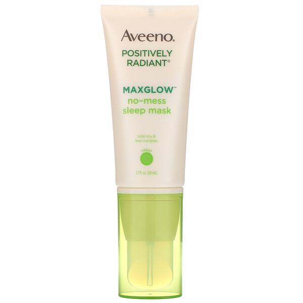 Aveeno, Positively Radiant, MaxGlow Ночная маска, не создающая помех, 1,7 ж. унц.(50 мл)