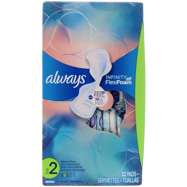 Infinity Flex Foam with Flexi-Wings, размер 2, для впитывания увеличенного количества жидкости, без запаха, 32 прокладки