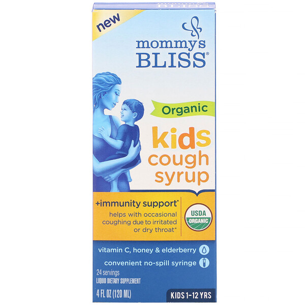 Mommy's Bliss, Kids, Organic Cough Syrup + Immunity Support, 1-12 Yrs, 4 fl oz (120 ml)