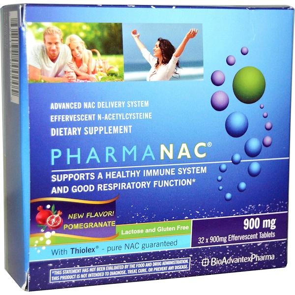 BioAdvantex Pharma, PharmaNAC, улучшенная система доставки N-ацетилцистеин, со вкусом граната, 900 мг, 32 шипучие таблетки (Discontinued Item)