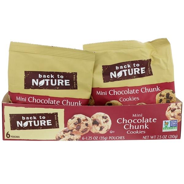Back to Nature, Мини печенье с кусочками шоколада, 6 пакетиков по 1,25 унции (35 г) каждый (Discontinued Item)