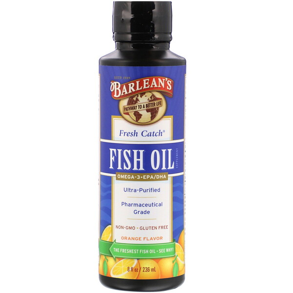 Свежий рыбий жир, омега-3 EPA/DHA кислоты, со вкусом апельсина, 8 жидких унций (236 мл)