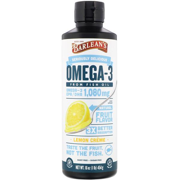 Omega-3, Fish Oil, Lemon Creme, 16 oz (454 g)