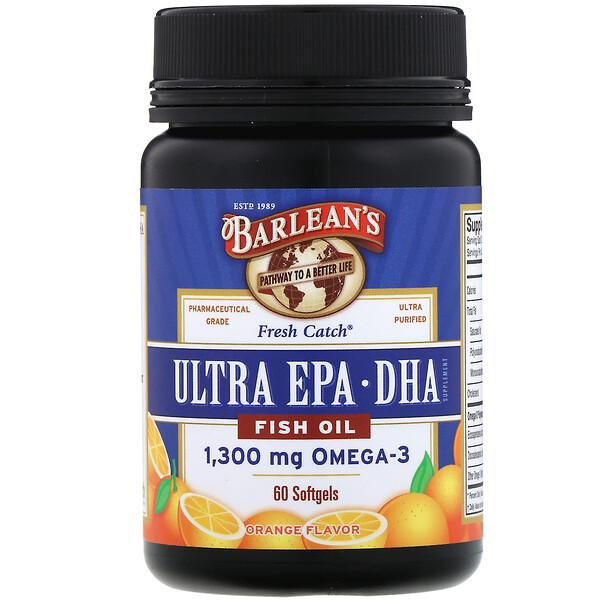 Fresh Catch Fish Oil, Omega-3, Ultra EPA/DHA, Orange Flavor, 60 Softgels