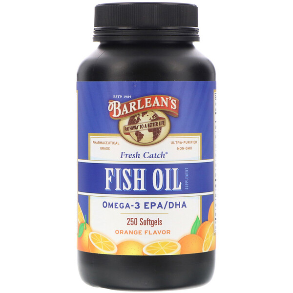 Fresh Catch, добавка с рыбьим жиром, омега-3 ЭПК/ДГК, со вкусом апельсина, 250 мягких желатиновых капсул