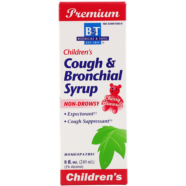 Premium, Children's Cough & Bronchial Syrup, Cherry Flavored, 8 fl oz (240 mg)