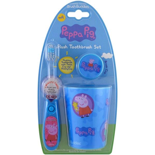 Brush Buddies, Свинка Пеппа, набор для чистки зубов, мягкая щетка, набор из 3 предметов (Discontinued Item)