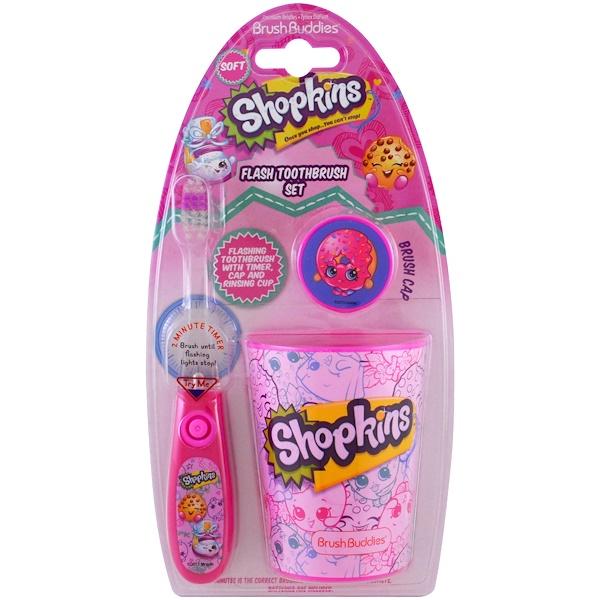 Brush Buddies, Шопкинсы, набор для чистки зубов, мягкая щетка, набор из 3 предметов (Discontinued Item)