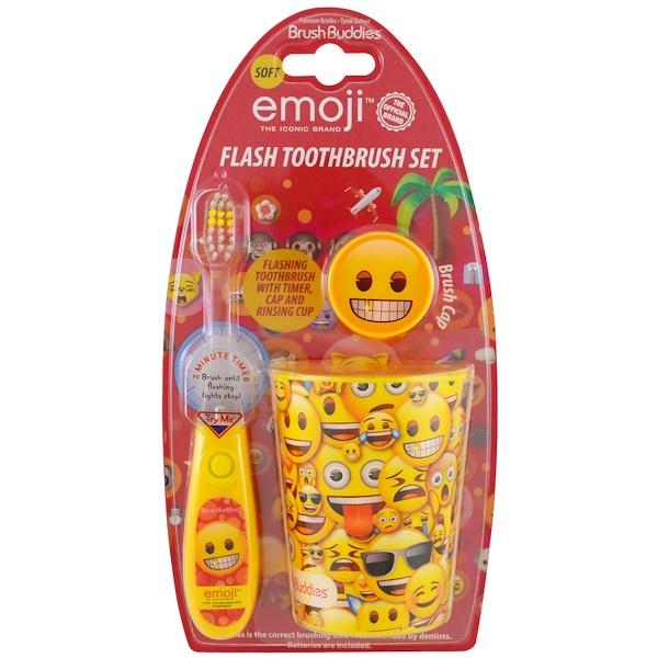 Brush Buddies, Эмодзи, набор для чистки зубов, мягкая щетка, набор из 3 предметов (Discontinued Item)