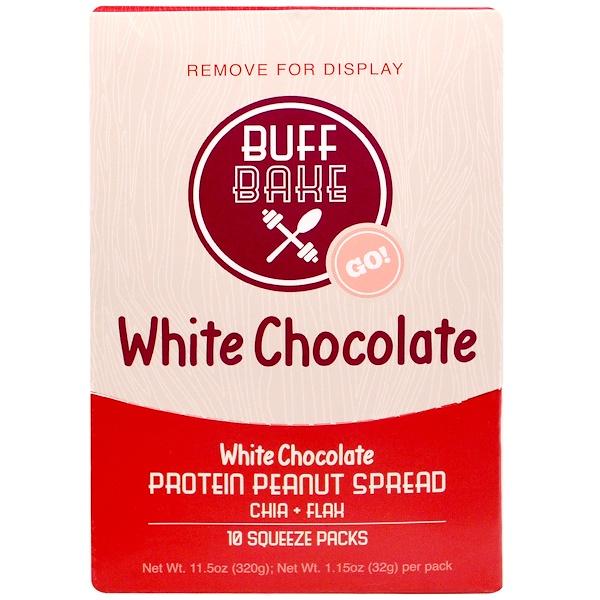Buff Bake, White Chocolate Протеиновая Миндальная Намазка, 10 Сжимаемых пакетов, по 1,15 унции (32 г) каждый (Discontinued Item)