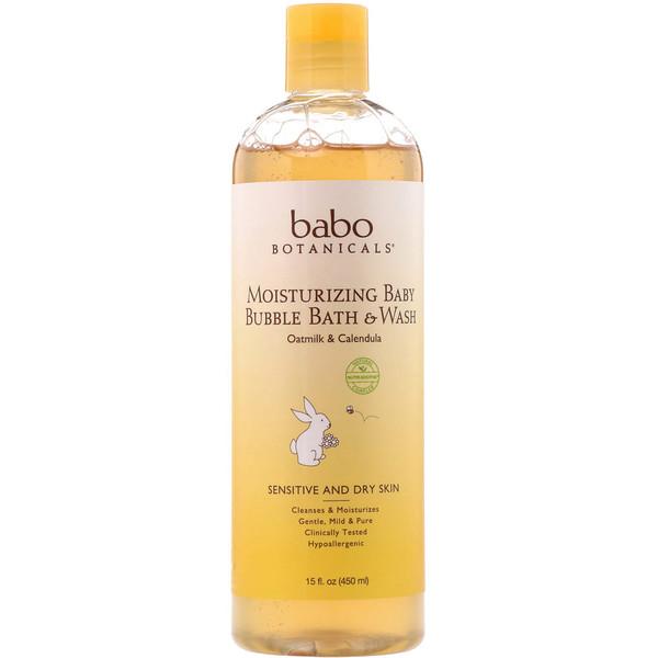 Увлажняющее средство для умывания и ванной Baby Bubble Bath & Wash, календула с овсяным молоком, 15 ж. унц. (450 мл)