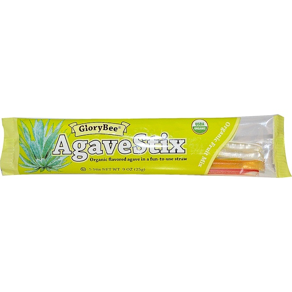 GloryBee, AgaveStix, Organic Fruit Mix, 5 Stix, .9 oz (25 g) (Discontinued Item)