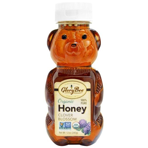 GloryBee, Органический мед, клеверный цвет, 12 унций (340 г) (Discontinued Item)