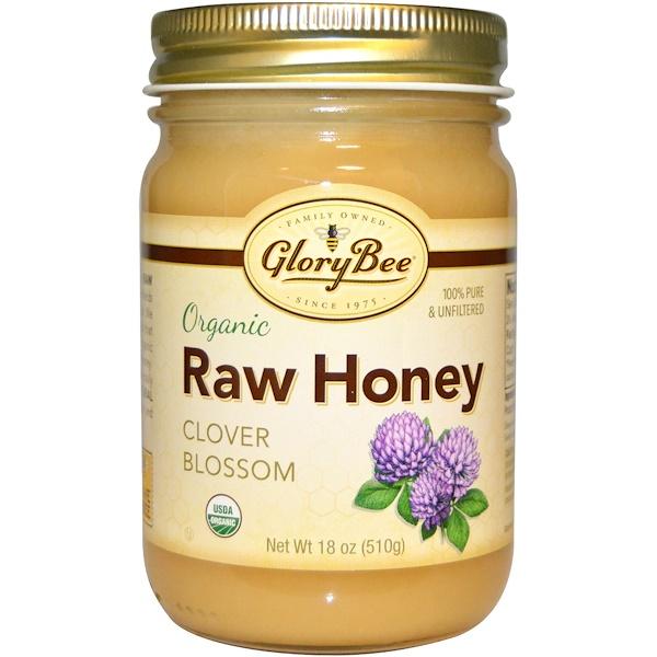 GloryBee, Органический сырой мед, клеверный цвет, 18 унций (510 г) (Discontinued Item)