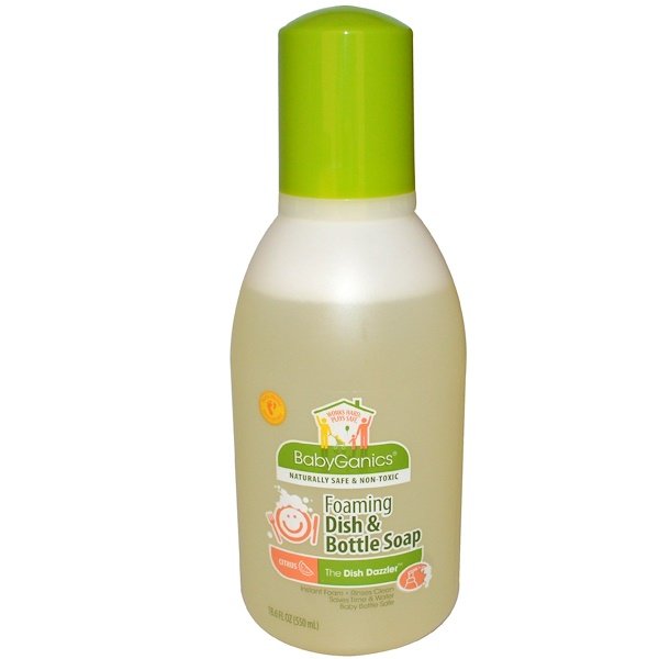 BabyGanics, The Dish Dazzler, Foaming Dish & Bottle Soap, Citrus, 18.6 fl oz (550 ml) (Discontinued Item)