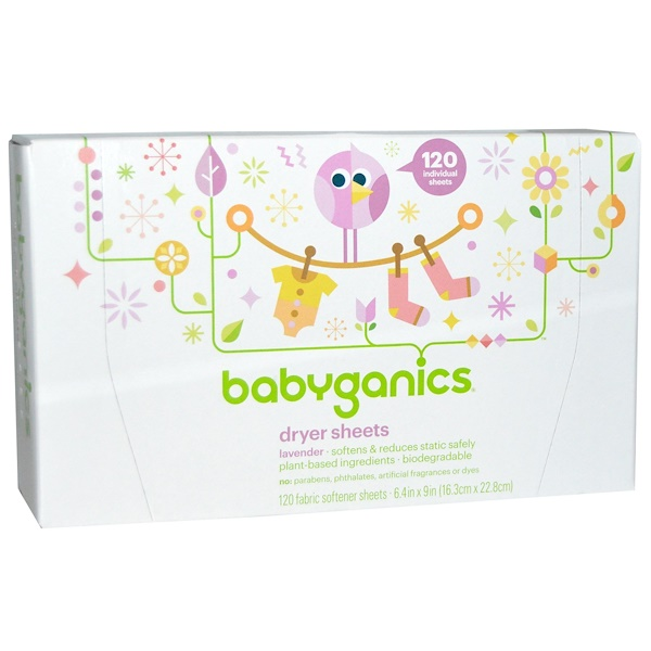 BabyGanics, Loads of Love, Dryer Sheets, Baby Fresh Scent, 120 Sheets, 9 in x 6.4 in Each (Discontinued Item)