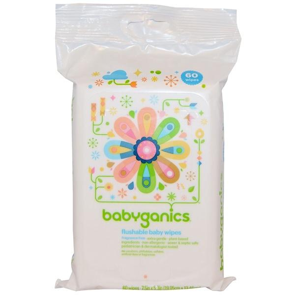 BabyGanics, Смываемые детские салфетки, без запаха, 60 салфеток (Discontinued Item)
