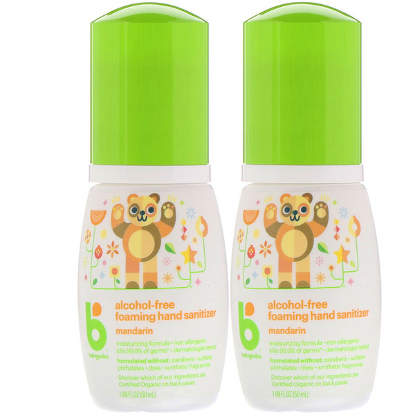 BabyGanics, Alcohol-Free, Foaming Hand Sanitizer, Mandarin, 2 Pack, 1.69 fl oz (50 ml) Each (Discontinued Item)