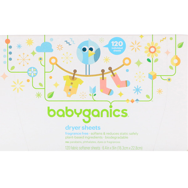 BabyGanics, Салфетки с пропиткой мягчителем, не содержат отдушек, 120 салфеток с мягчителем ткани (Discontinued Item)